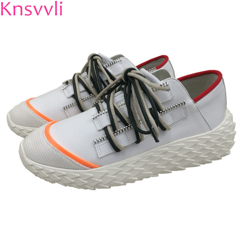 Knsvvli 2019 spring new casual shoes women genuine leather cross tied sapato feminina mixed color comfort