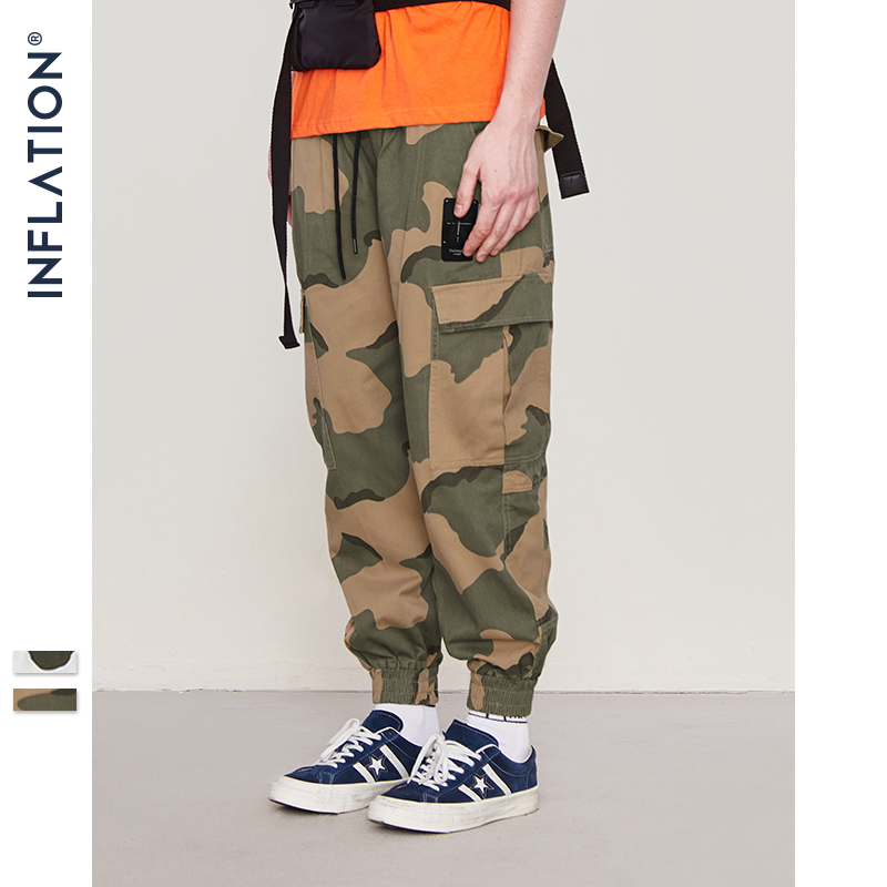 Autumn Mens Cargo Pants Leisure Tool Many Pocket with Zipper Military Style Army Jogger Male Straight