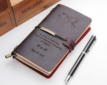 Handgemaakte lederen journals, Custom tijdschriften lederen notebook cover, Navulbare reiziger's lederen notebook, custom made wereldkaart