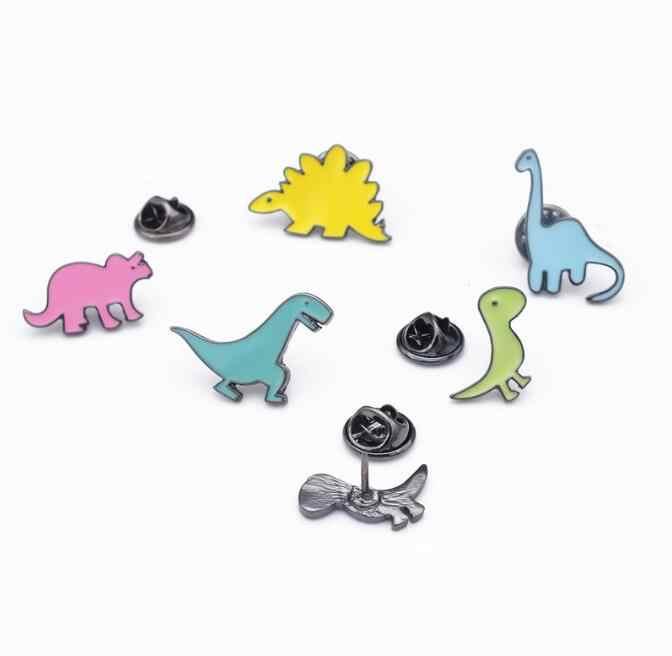 Jisensp Lucu Mini Dinosaur Naga Bros Tombol Pins untuk Wanita Jaket Kerah Lencana Perhiasan Binatang Jarum Hijab Grosir