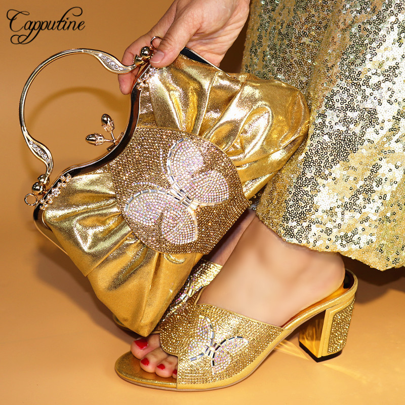 Capputine Italian Wedding Pumps Shoes And Bag To Match For Party Fashion Summer Ladies Shoes And Bag Set For Wedding TX-591 doershow shoe and bag to match italian african shoe and bag sets women shoe and bag to match for parties african shoe htx1 18