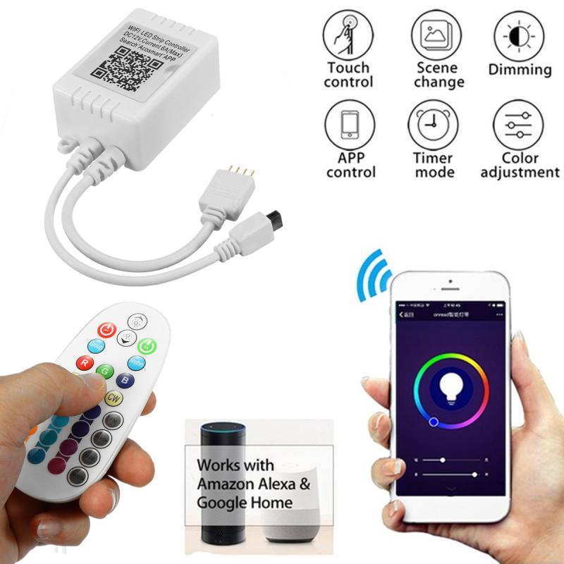 WiFi Controller MIC Music Control Remote 110-240V For RGB 5050 LED Strip Light 28 Key 3 Types Controller 4 Pin DC Adapter