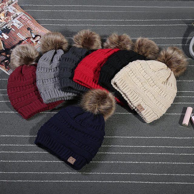 0a67c9bd2e7f21 2017 Winter Stylish Women Faux Fur Pom Pom CC Knitted Beanie Hat Warm  Thicker Skullies Hats Fashion Bonnet Solid Beanies Caps