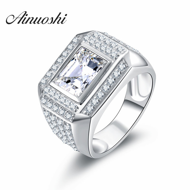 Ainoushi 100 Sterling Silber Moderne Luxus Manner Ring 3 Ct Sona