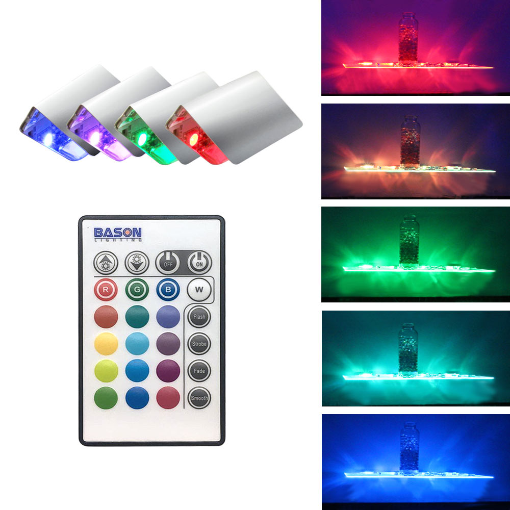 Rgb Led Gl Edge Lighting Kit 4pcs Shelf Lights Ir Remote Controller For Book Decorative In Bar From