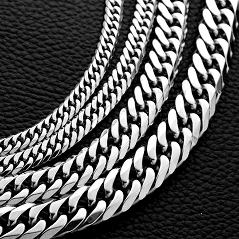 Mcllroy Big 6-13mm Width Men Necklace Curb Chains Link Stainless Steel Men Necklace Punk Hip Hop Choker Jewelry Gifts Never Fade