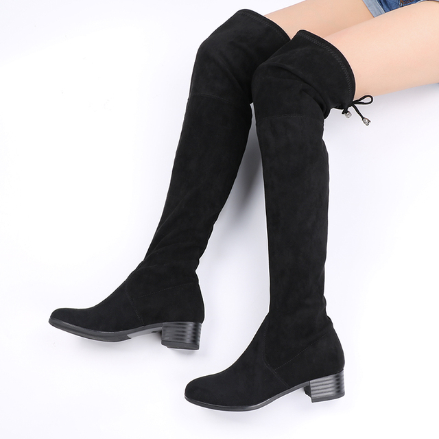 f9e1d5770 AIMEIGAO Knee High Women Boots Faux Suede Leather Stretch Thigh High Boots  Fashion Women Sexy Over The Knee High Boots