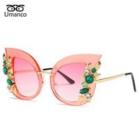 6a4bdd65df8 Umanco Charming Flower Rhinestone Cat Eye Sunglasses Women Vintage Fashion  Butterfly Sun Glasses Female Retro Metal