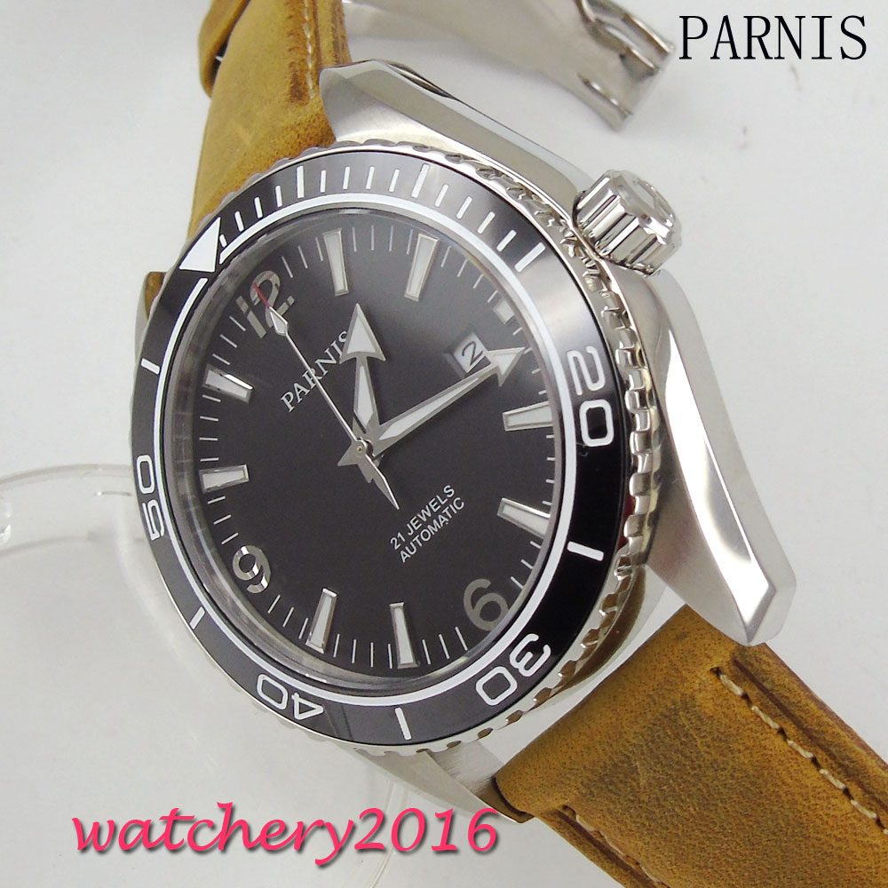 New 45mm Parnis Black Dial Stainless Steel Case Date adjust 21 jewels MIYOTA Automatic Movement Men's wristWatch new forcummins insite date unlock proramm