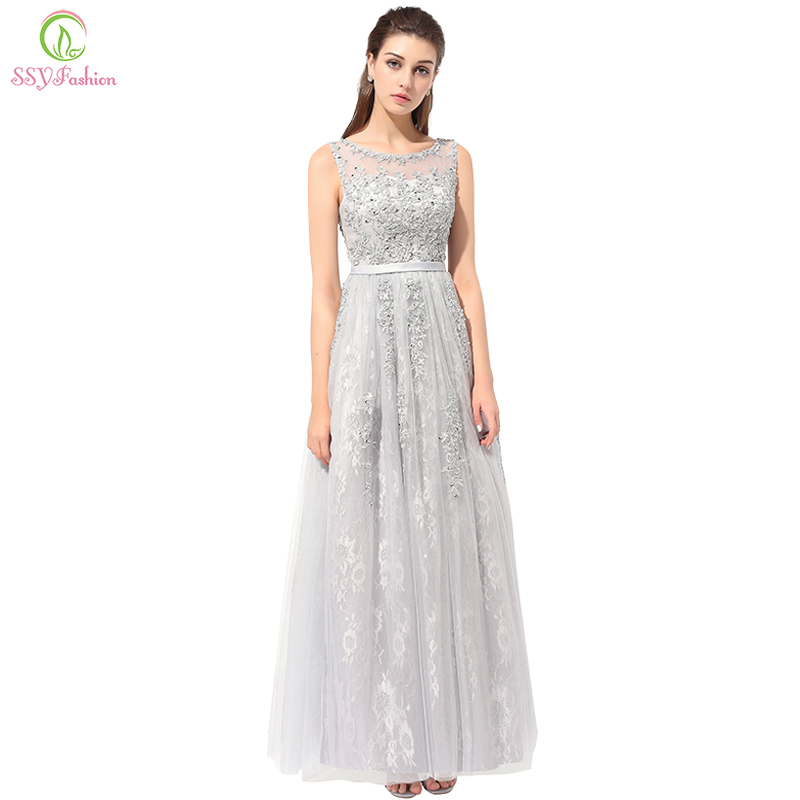 Clearance Cheap Evening Dress The Bride Grey Elegant Embroidery Lace Sleeveless Floor-length Long Prom Dresses