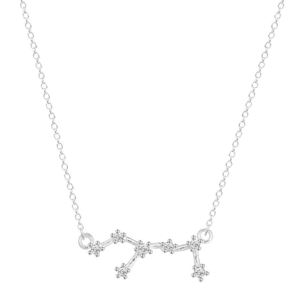 QIAMNI 925สเตอร์ลิงเงิน12ดาวราศีเพทายดวงชะตาโหราศาสตร์G Alaxy Constellationสร้อยคอเข้าสู่ระบบวันเกิดของขวัญแต่งงาน