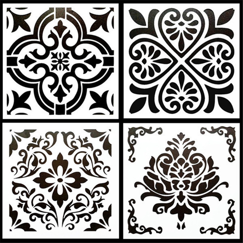 4Pcs/Pack 15*15cm DIY Home Painting Vintage Flower Pattern Stencil Template For Tile Floor Furniture Painting Decorative Home