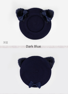 Image 5 - Black Cat Lolita Girls Cat Ears Bows Trim Drawers Beret Hat Halloween Kawaii Cute Woolen Painter Beret Cap 4 Colors