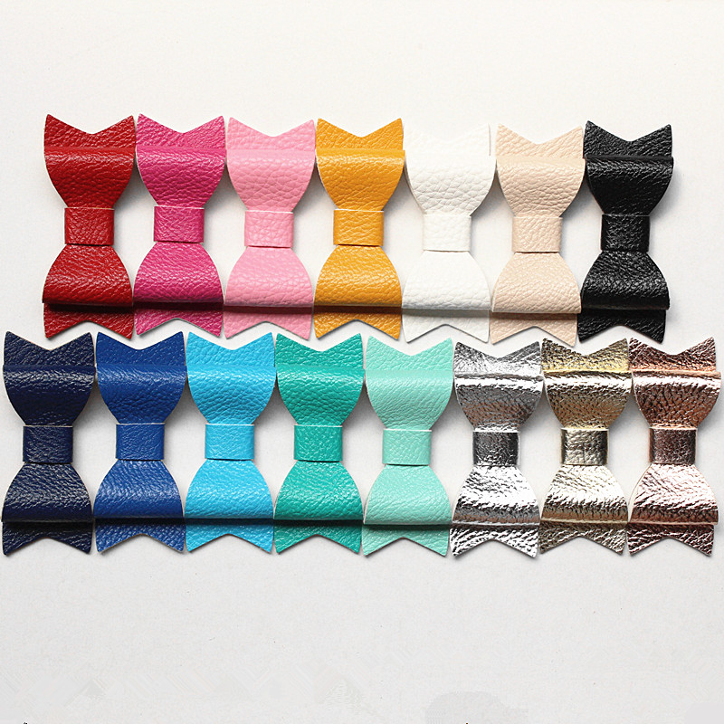 100pcs lot PU Leather Hair Accessories No Clips Synthetic Leather Felt Shinning 7 2 8cm Princess