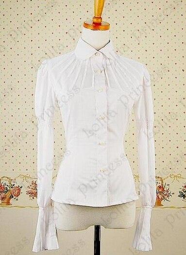 Personnalisé 2018 été à manches longues en mousseline de coton Lolita hauts Blouse solide nœud Lolita chemises