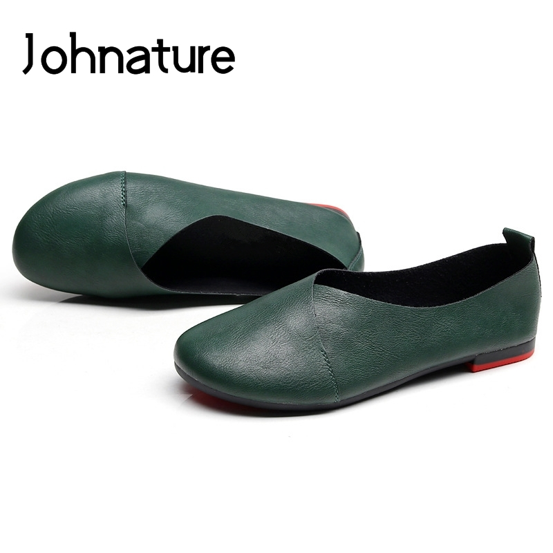 Johnature 2020 New Spring/autumn Handmade Retro Round Toe Casual Shallow Slip-on Comfortable Solid Women Shoes Pumps