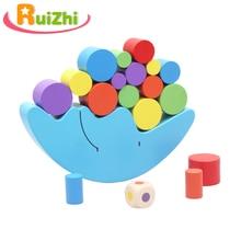 Ruizhi Children Moon Balancing Frame Colorful Wooden Montessori Teaching Aids Baby Educational Building Blocks Kids Toys RZ1078