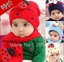 Оптовая торговля розничная торговля Красный Детские шапки С шарфом набор = одна часть шляпа одна часть шарф бесплатная доставка