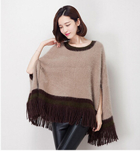 Woman Sweater Winter 2015 New Collection Casual Round Neck Knitted Sweater Cloak Type Mink Cashmere Shawl MY-17