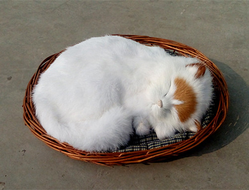 simulation cute white sleeping cat 26x23cm model polyethylene&furs cat model home decoration props ,model gift d416 large 21x27 cm simulation sleeping cat model toy lifelike prone cat model home decoration gift t173
