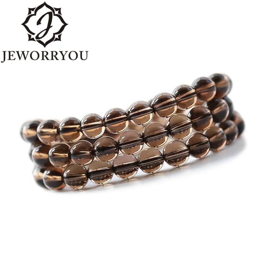 Smoky Quartz Wrap Crystal Bracelet Men 6-8mm Couple Bracelets For Girls Buddha Bracelet Men Accessories Natural Stone 4 8mm zoisite natural stone bracelet tanzanite colorful wrap bracelet female jewellery women bracelets