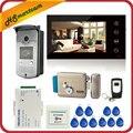 7 дюймов сенсорный экран цветной видеодомофон домофон система 1 монитор + 1 RFID доступ светодио дный камера + электрический контроль дверной з...