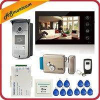 7 дюймов сенсорный экран цветной видеодомофон домофон система 1 монитор + 1 RFID доступ светодио дный камера + электрический контроль дверной з