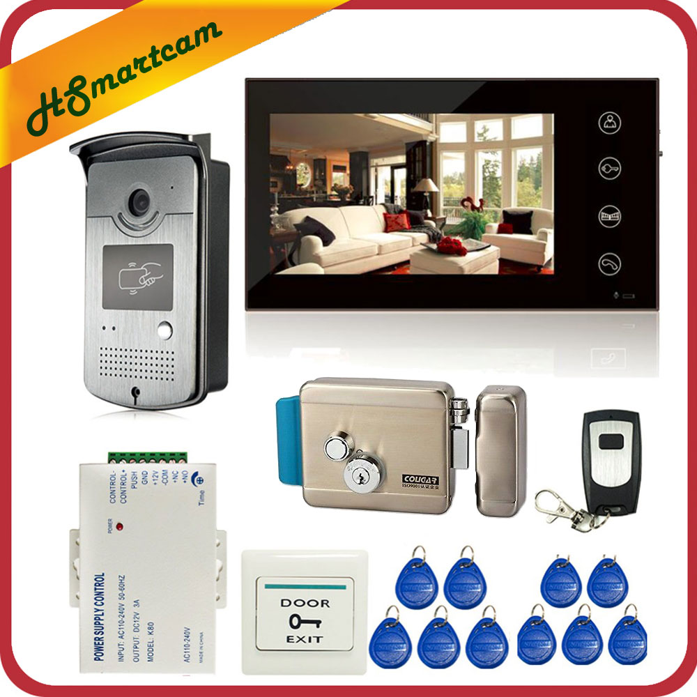 7 inch Touch Screen Color Video Door Phone Intercom Entry System 1 Monitor+1 RFID Access LED Camera + Electric Control Door Lock 7 inch color screen video door phone system rfid card door access control reader standalone access control video intercom bell