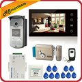 7 inch Touch Screen Kleur Video Deurtelefoon Intercom 1 Monitor 1 RFID Toegang LED Camera + Elektrische Controle Deurslot
