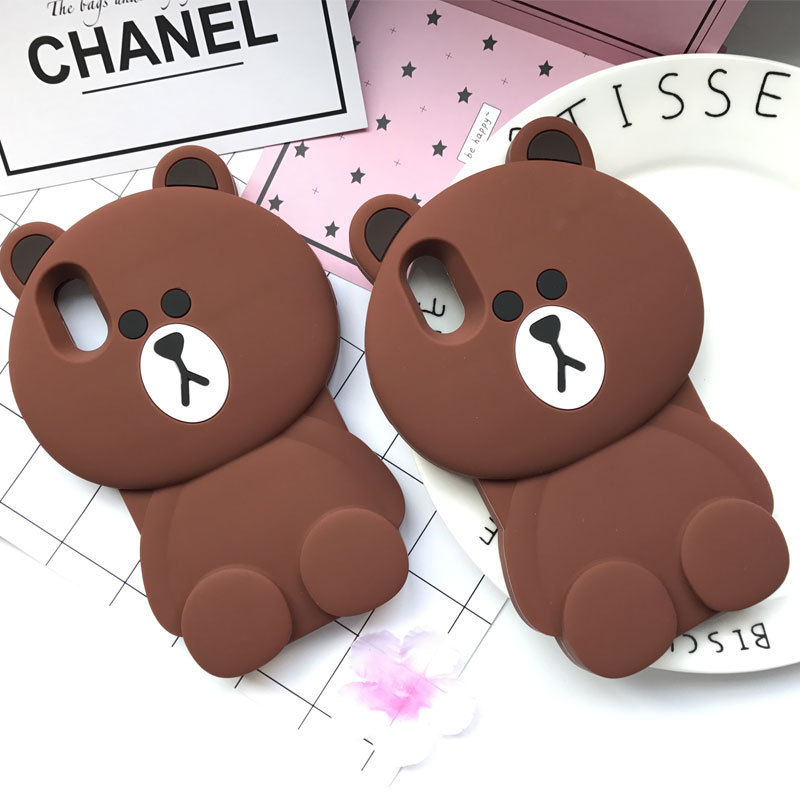 Cute Cartoon Capa Case 3D Brown Teddy Bear Coque Soft Silicone Phone Cases For iPhone X 8 7 7Plus 5 5S 6 6S 6Plus Cover Fundas
