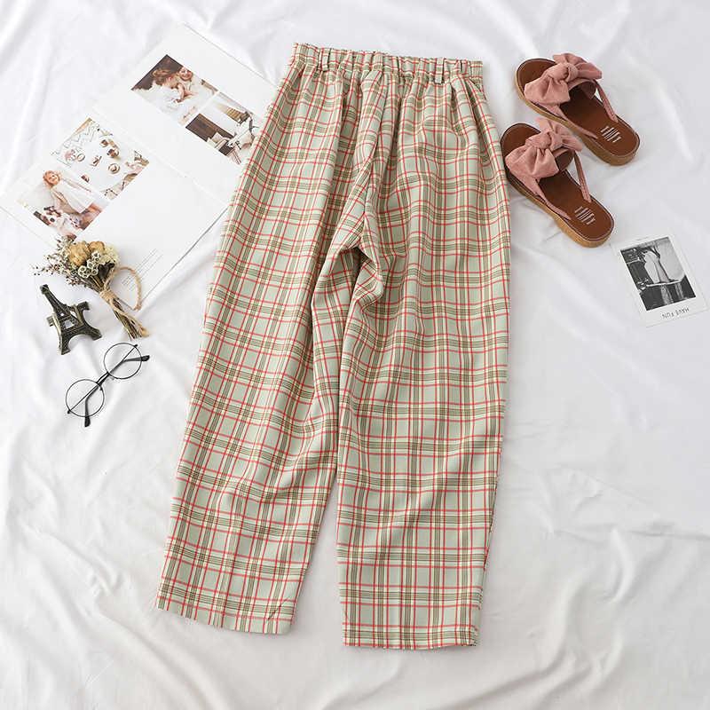 Japonês Harajuku Calças de Verão Para As Mulheres Outono de Algodão Em Linha Reta Calças Calças Moda Xadrez das Mulheres Pantalon Femme