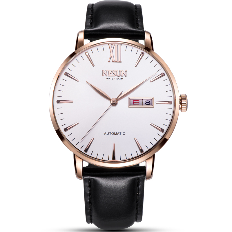 Nesun JAPAN MIYOTA Automatic Mechanical Men's Watches Luxury Brand Watch Men Genuine Leather relogio masculino clock N920-2