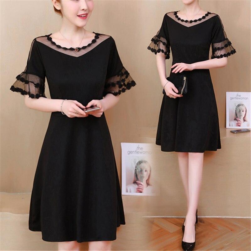 0a3b574949c L-5xl 2018 Летние черные сексуальное платье Для женщин короткий рукав платья  с круглым вырезом Винтаж вечерние пляжные свободные Hollow Vestidos плюс .