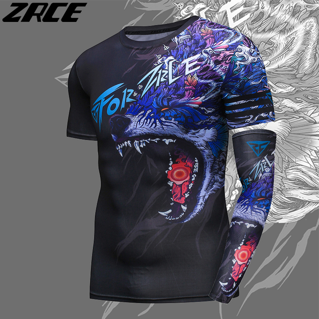 ZRCE 3D Print Wolf Men Shirt With Arm Sleeve O-neck Summer Funny Cosplay Costume Stranger Cool Things Streewear Skinny Tee Shirt 3