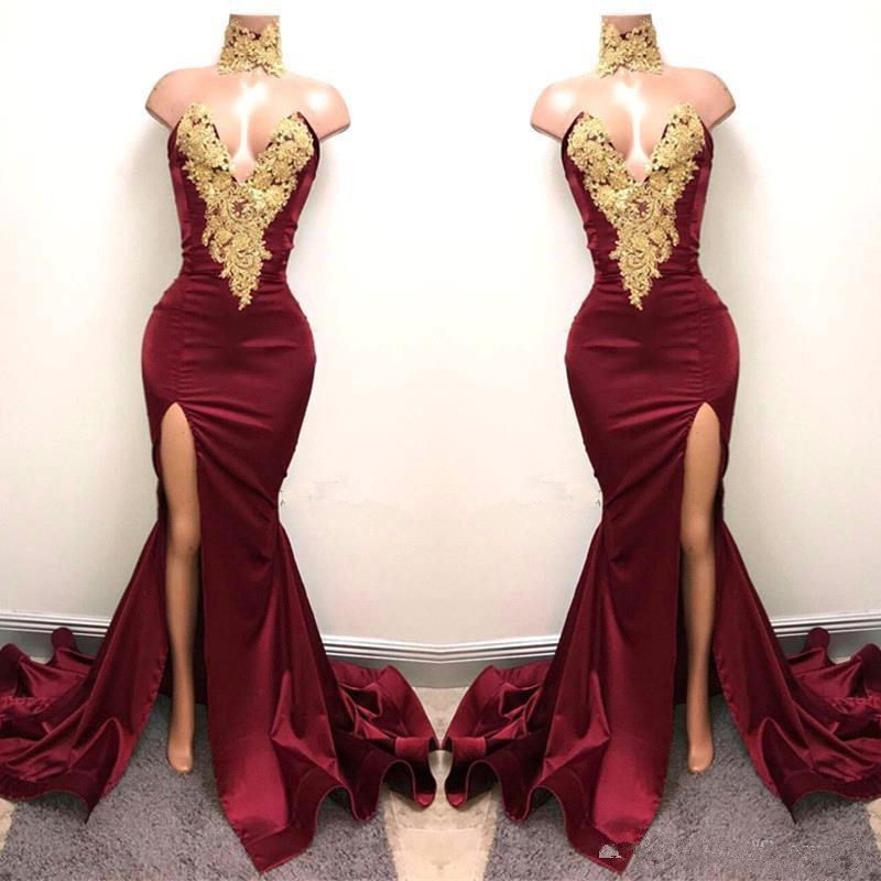New 2019 Sexy Burgundy   Prom     Dresses   with Gold Lace Appliqued Mermaid Front Split for Long Party Evening Wear Gowns   prom     dress