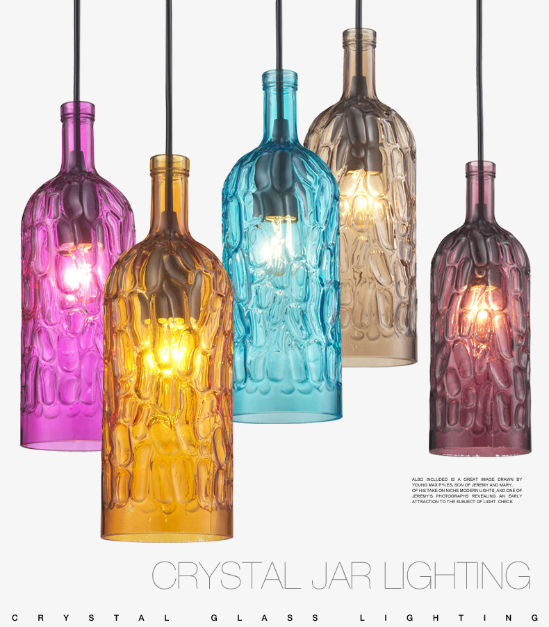 Modern Candy Glass Wine Bottle Led Pendant Hanging Lights Fixtures Cafe Bar Shop Restaurant Art Hall Pendant Lamp Lighting Decor