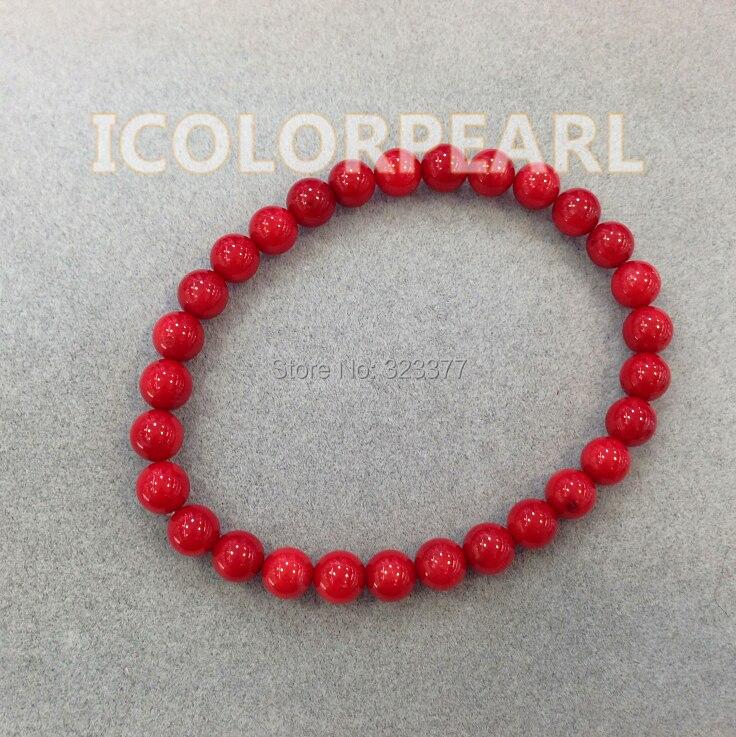 WEICOLOR Krásný 6-7mm kulatý červený umělý korálový náramek na gumu. Doprava zdarma!