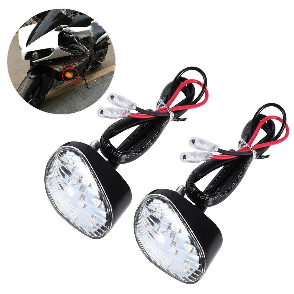 2pcs Amber LED Turn Signal Indicator Light Flush Mount For Yamaha YZF R1 R6 Turn Signals Indicators flashing lights blinkers