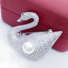 Luxury Swan Brooches Femini Broach Pins Crystal CZ Zircon Diamante Jewelry for Women Accessories Prom Dresses Hijab Pearl Pin