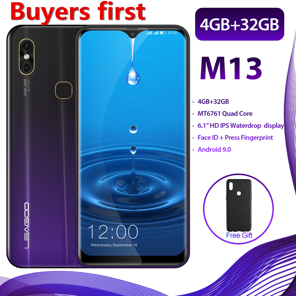 "2019 new Original LEAGOO M13 Android 9.0 19:9 6.1""FHD 4GB RAM 32GB ROM MT6761 Quad Core Face ID 4G LTE Waterdrop Mobile Phone"