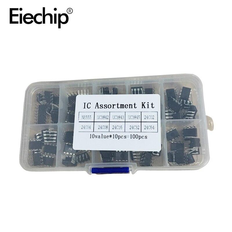 100pcs/lot In Common Use DIP IC Kit NE555 UC3842 UC3843 UC3845 24C02 24C04 24C08 24C16 24C32 24C64 DIP Each 10pcs