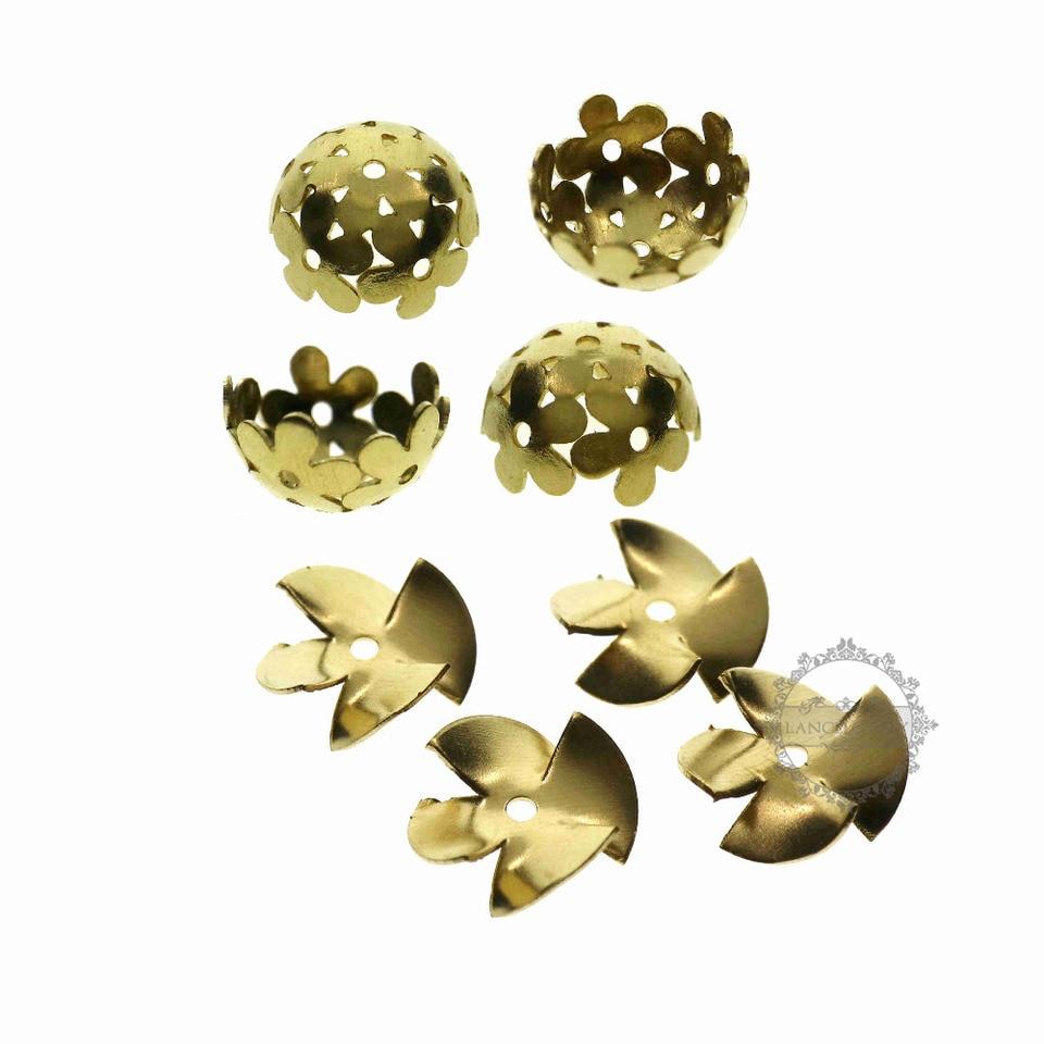 100pcs Raw Brass Flower Shape Bead Caps Findings 12mm F1463