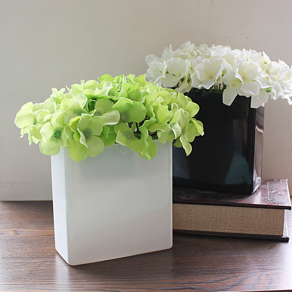 Modern brief cheap white black deltoid glass vase flower home decoration for wall and desktop