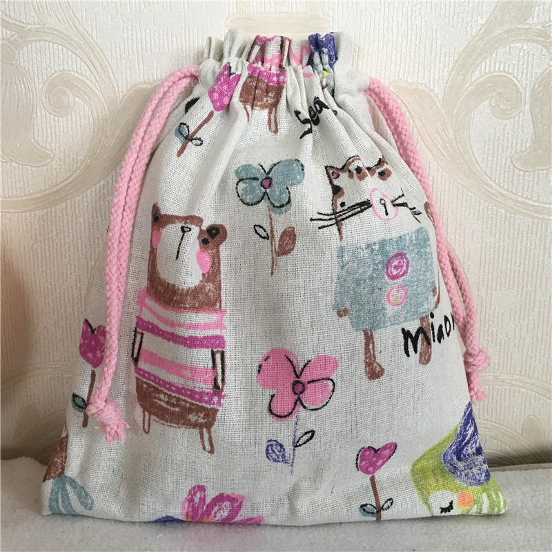 YILE Cotton Linen Drawstring Multi-purpose Organizer Gift Bag Drawing Animal Bear Chick 8212d