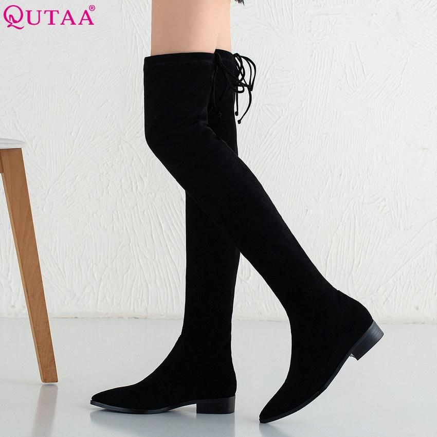 купить QUTAA 2019 Women Over The Knee High Boots Square Heel Winter Boots Women Shoes Platform All Match Ladies Boots Big Size 34-39 онлайн