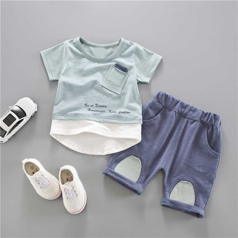 New summer Casual Baby boys girls cute pocket short sleeve Patchwork t-shirt+short short pant Infants 2pcs clothing set S4854 2017 new fashion kid girls clothes little girls summer short sleeve t shirt tops and cute heart striped legging pant 2pcs 1 6y