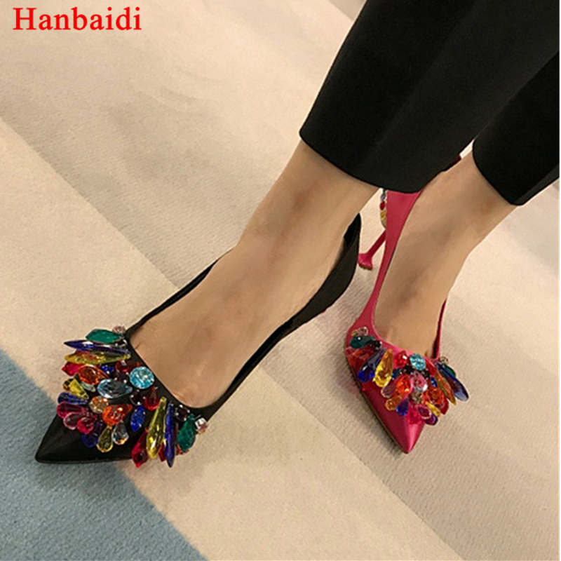 Hanbaidi Luxury Brand Stain Colorful Rhinestone Women Pumps Runway Black Slip On Pointed Toe High Heels Shoes Party Dress Shoes
