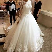 Custom Size A Line Long Sleeve Lace Beading Crystal Romantic Wedding Dresses Robe De Mariee Wedding