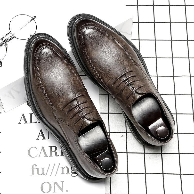 En Pointu gray Décontractée porter brown Hommes Hard Size38 Black Robe up Mode Chaude Coréenne De Bout Cuir Dentelle Vente 44 Chaussures D'affaires YwSqxR