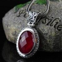 Jimei Silver Jewelry Wholesale 925 Sterling Silver Jewelry Retro Red Jade Pendant Jewelry Silver Just Shipping